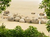 Famous NZ travel destination of Moeraki Boulders