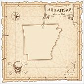 Arkansas Pirate Map. Ancient Style Map Template. Old Us State Borders. Vector Illustration. poster