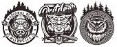 Vintage Wildlife Monochrome Logos With Angry Wild Boar Wolf Owl Heads And Inscriptions Isolated Vect poster