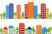Seamless Pattern Of City, Town Or Village