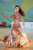 MOSCOW, RUSSIA - MAY 2: Unidentified girl dance during IX World Dance Olympiad in Moscow, Russia at