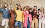 Happy Group Friends Taking Selfie With Cell Phone Outdoor - Young Trendy People Having Fun With New  poster
