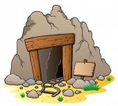 Cartoon mine entrance - vector illustration.
