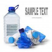 Group of a empty plastic bottles. Waste management concept.