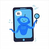 Phone With Chat Bot That Is Ready To Help Flat Vector Illustration.round-the-clock Assistance Online poster