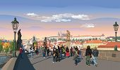 Colorful Vector Illustration Of Charles Bridge And Panorama Of  Prague. Landmark Of Prague, Czech Re poster