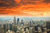 Kuala Lumpur City Landscape View Of Skyline Top View Cityscape At Malaysia Asian / Red Cloud Orange  poster
