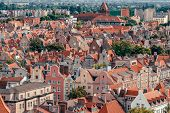 Top view of Gdansk old town with reddish tiled roofs of old town in Gdansk, Poland poster