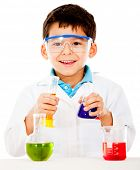 Boy doing experiments at the lab - isolated over a white background
