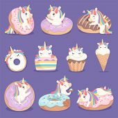 Unicorn Donuts. Cute Face And Characters Of Magic Rose Little Pony Unicorn With Cakes Donuts Ice Cre poster