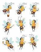 Honey Bee. Cartoon Characters Flying Nature Insect In Different Poses Delivery Bee Vector Mascot. Fl poster