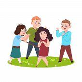 Angry Kids. Bad Boys And Girls Bullying Smaller Children Vector Illustration. Boy Bullying Girl, Ang poster