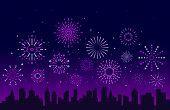 Night City Fireworks. Festive Christmas Pyrotechnics Firecrackers With Urban Skyline. Xmas Party Fes poster
