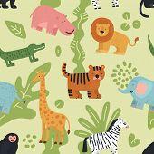 Jungle Animals Seamless Pattern. Lion, Crocodile And Zebra, Elephant And Monkey, Hippo And Giraffe W poster