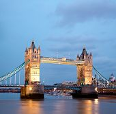 Architecture of Tower Bridge along River Thames London England United Kingdom at Dusk