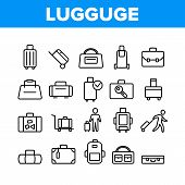 Luggage And Baggage Collection Icons Set Vector. Backpack And Handbag, Suitcase, And Briefcase, Mess poster