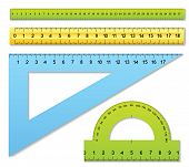 pic of protractor  - The three color rulers and one protractor - JPG