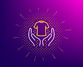 Hold T-shirt Line Icon. Halftone Pattern. Laundry Shirt Sign. Clothing Cleaner Symbol. Gradient Back poster