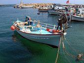 Traditional fishing boats moored in Kyrenia harbor