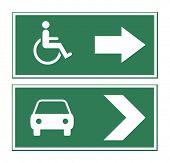 Car and disabled sign isolated on white background.