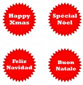 Set of four Happy Christmas stickers isolated on white background in English, Italian, Spanish and French languages.