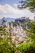 Salzburg Summer Time: Panoramic City Landscape With Salzach With Green Grass And Historic District poster