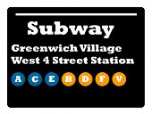 Greenwich Village West 4 street station subway sign isolated on white background, New York City, U.S.A.