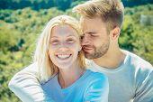Romantic Portrait Of A Sensual Couple In Love. Enjoying Tender Warm Pleasant Moment Of Love. Romanti poster