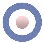 Grainy textured effect mod symbol or roundel, isolated on white background.