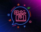 Travel Luggage Line Icon. Neon Laser Lights. Trip Bag Sign. Holidays Case Symbol. Glow Laser Speech  poster