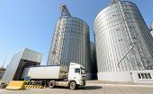 Grain Drying Complex, Storage And Transportation Of Grain. Large Granary In The Field. Agricultural  poster