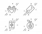 E-mail, Hold Heart And Mail Line Icons Set. Medical Food Sign. Mail Delivery, Care Love, Smartphone  poster