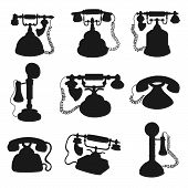 Retro Phone And Vintage Telephone Black Silhouettes. Old Rotary Dial And Candlestick Telephones Vect poster