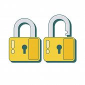 Lock Icon In Flat Style. Lock Open And Lock Closed. Concept Password, Blocking, Security. Lock Symbo poster