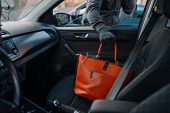 Car robber steals womens handbag, stealing poster