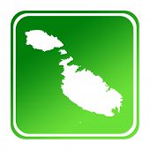 Malta map button in gradient green; isolated on white background with clipping path.