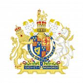 Lion and unicorn on English heraldic coat of arms, isolated on white background.