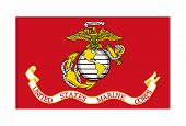Flagge des US Marine Corps; isolated on white Background.