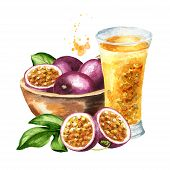 Bowl With Fresh Passion Fruits And Glass Of Passionfruit Juice, Watercolor Hand Drawn Illustration I poster