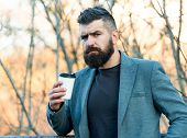 Caffeine Gives Him Energy. Bearded Man Enjoy Coffee In Autumn Morning. Businessman Hold Cup Of Hot E poster