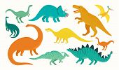 Cartoon Dinosaur Set. Cute Dinosaurs Icon Collection. Colored Predators And Herbivores. Flat Vector  poster