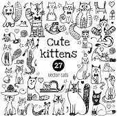 Cat Doodle Set. Cute Sketch Animal . Cartoon Funny Cats Collection. Doodle Outline Kittens With Cute poster