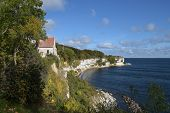 Old Church In Hoejerup, Tourist Attraction At Stevns Klint The Chalk Cliff On The Danish Island Zeal poster