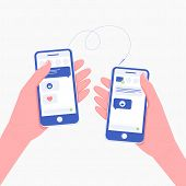 People Online Communication Concept. Two People Hands Holding Smartphones. Chatting Or Sending Messa poster