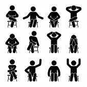 Sitting On Chair Stick Figure Man Different Poses Pictogram Vector Icon Set. Boy Silhouette Seated H poster