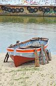Old boat at beach lifeguard station