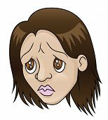 stock photo of insulting  - An illustration depicting a girl with a sad expression - JPG