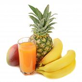 fresh tropical fruits and juice
