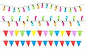 Strings Of Holiday Lights And Birthday Flags White Background. Vector Illustration.
