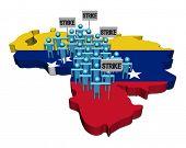 trabalhadores em greve em ilustração de bandeira de mapa de Venezuela